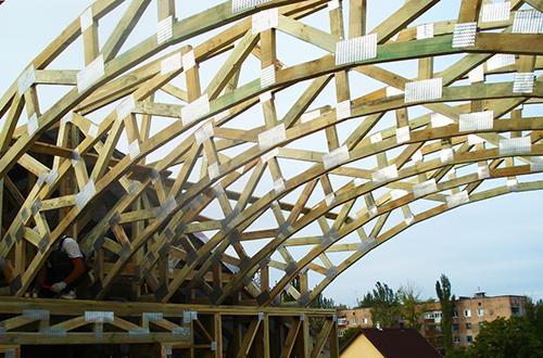 стропильная система арочной крыши