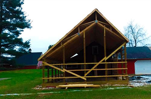 деревянные фермы крыши с разными скатами