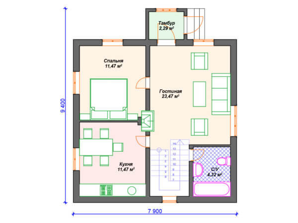 недорогой каркасный дачный дом 9х7