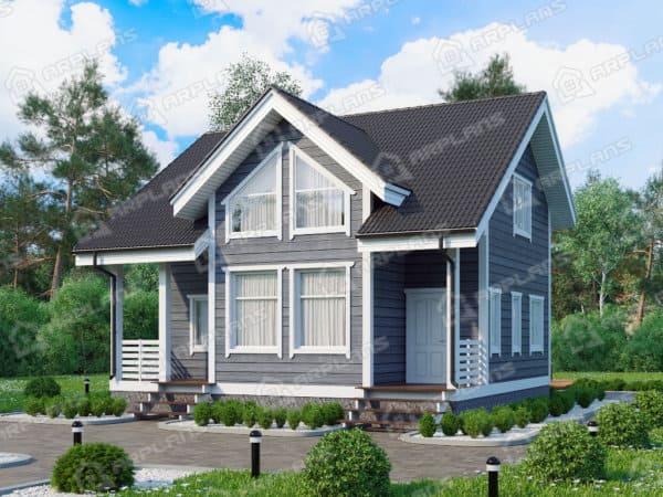 Проект каркасного дачного дома 8,1х9,0 м с 4 спальнями