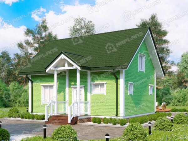 Проект каркасного дачного дома 8,6х9,0 м с сауной