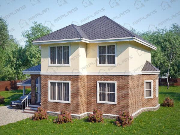 Проект двухэтажного коттеджа 12,6х14,2 м с 3 спальнями