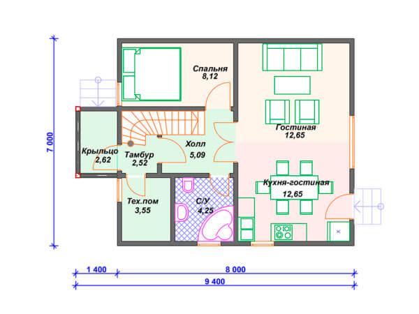 Проект полутораэтажного дачного дома 7,0х9,4 м с 4 спальнями