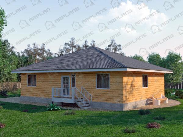 Проект одноэтажного коттеджа 14,7х16,7 м с 3 спальнями и террасой