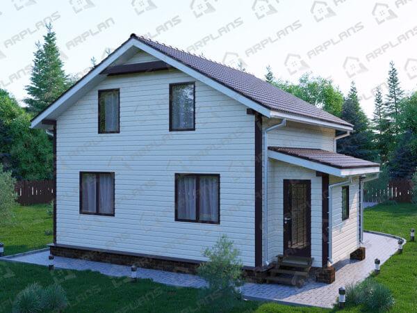 Проект каркасного дачного дома 9,1х9,1 м с 3 спальнями и террасой