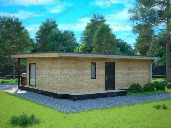 Проект одноэтажного дачного дома 8,8х9,0 м с большой террасой