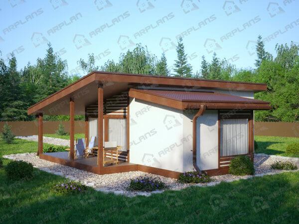 Проект каркасного дачного дома 10,0х10,0 м с большой террасой