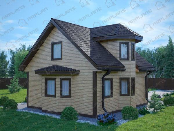 Проект каркасного дачного дома 7,6х8,6 м с мансардой и эркером