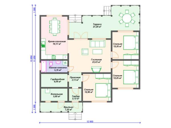 Проект одноэтажного коттеджа 12,9х13,8 м с 3 спальнями