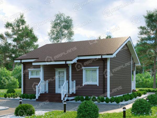 Проект одноэтажного дачного дома 9,0х11,0 м с 2 спальнями