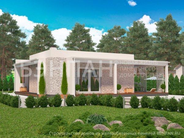 Проект 1-этажного дома МС-138 10,1х12,1 с плоской крышей