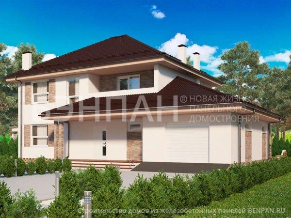 Проект двуэтажного дома МС-240 10,8х15,2 из жби панелей БЭНПАН