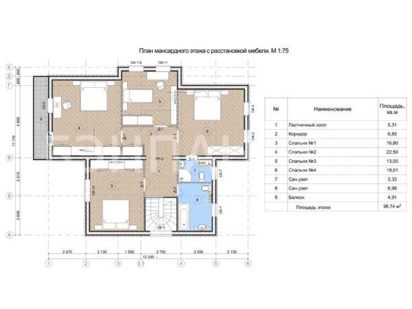 Проект коттеджа МС-233 10,3х13,2 м из бетонных панелей БЭНПАН
