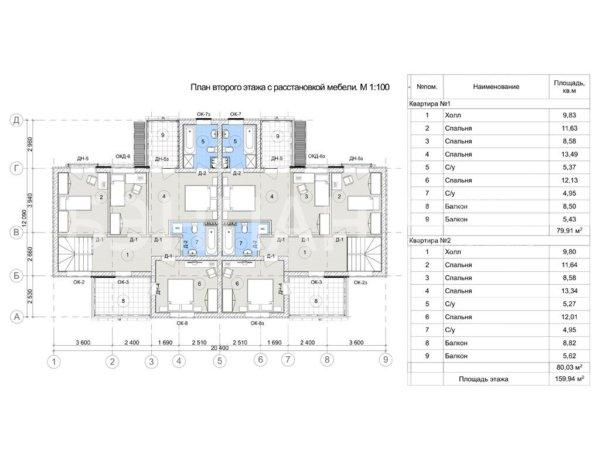 Проект двухэтажного дома дуплекса на 2 семьи МС-397 11,9х22,7
