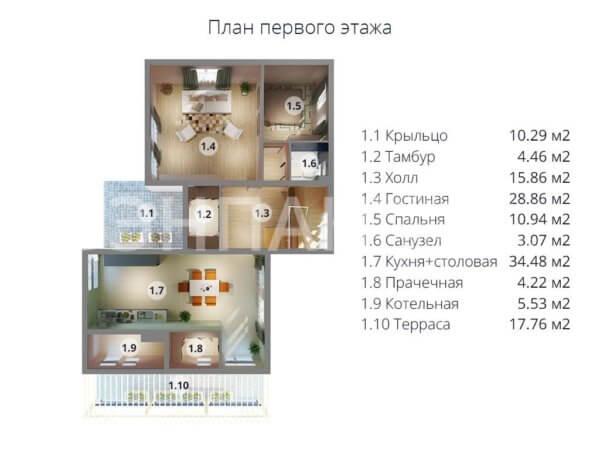 Проект двухэтажного коттеджа 12,0х15,0 м БЭНПАН МС-296