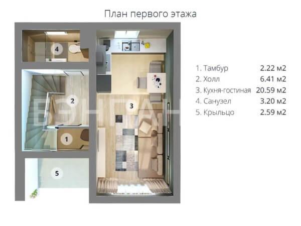 Проект двухэтажного коттеджа 6,6х7,2 м БЭНПАН МС-95