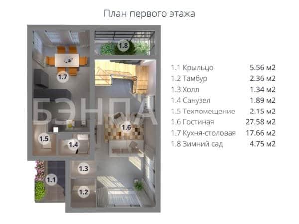 Проект двухэтажного коттеджа 7,5х10,5 м БЭНПАН МС-112