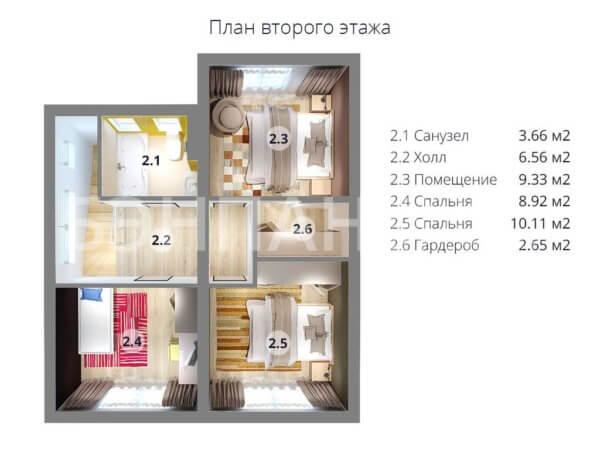 Проект двухэтажного коттеджа 7,2х8,4 м БЭНПАН МС-113