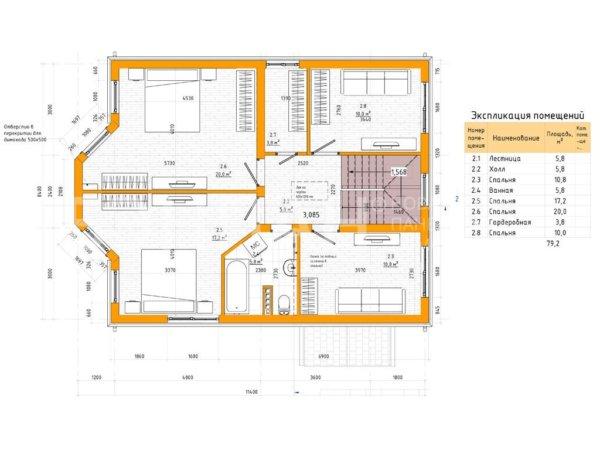Проект 2х этажного дома МС-143 8,4х11,4 из панелей БЭНПАН