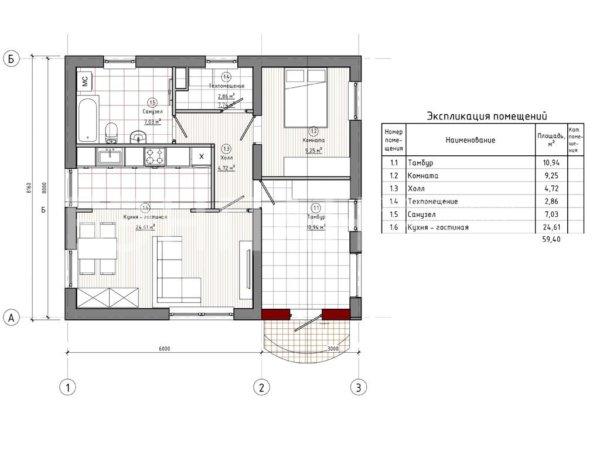 Проект одноэтажного дома МС-72 8,1х9,0 из жби панелей БЭНПАН
