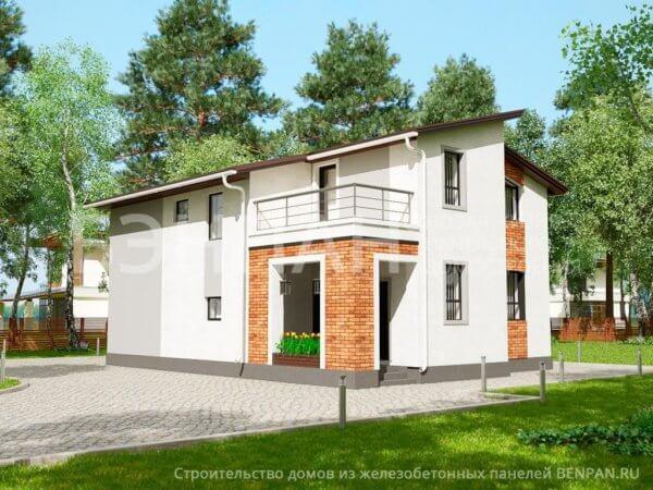 Проект двухэтажного монолитного коттеджа 9,0х12,0 м МС-202