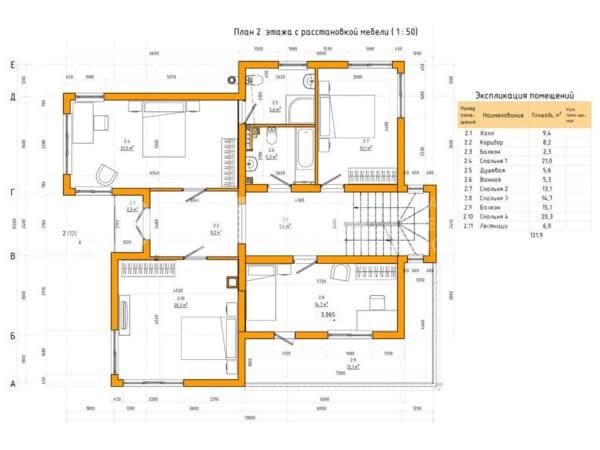 Проект коттеджа 2 этажа МС-247 12,0х13,8 из жби панелей с плоской крышей