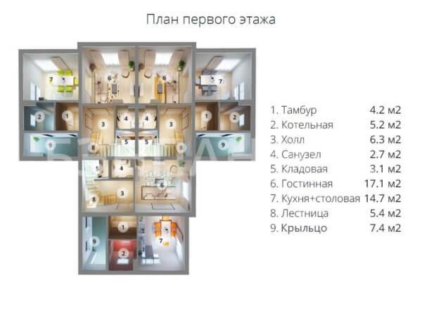 Проект дома триплекса на 3 семьи МС-472 18,3х18,3 с отдельными входами