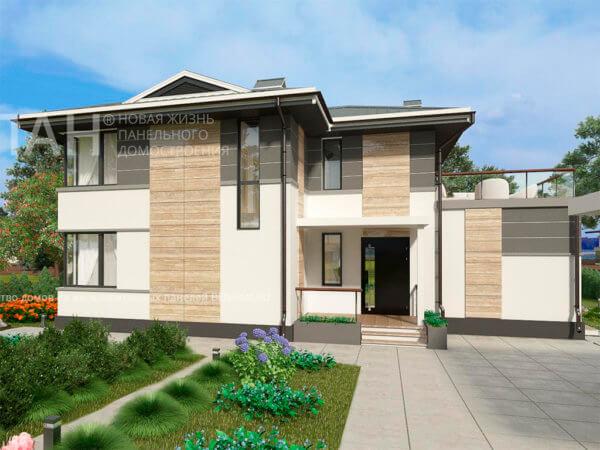 Проект 2х этажного бетонного коттеджа МС-224 9,3х13,8 с сауной внутри